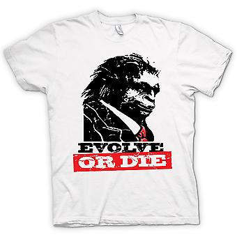 Mens T-shirt - Evolve Or Die Planet Of Apes - Funny Retro
