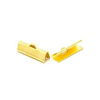 Packet 50+ Golden Plated Iron Rectangle Ribbon Ends 8 x 20mm HA13115