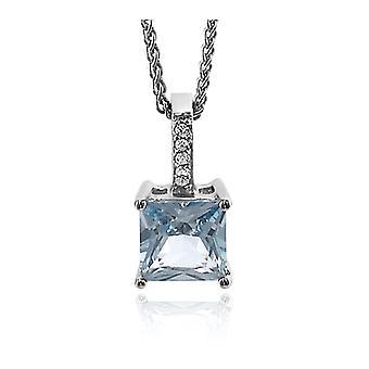 Orphelia Silver 925 Chain With Pendant Square Blue Zirconium   ZH-7028