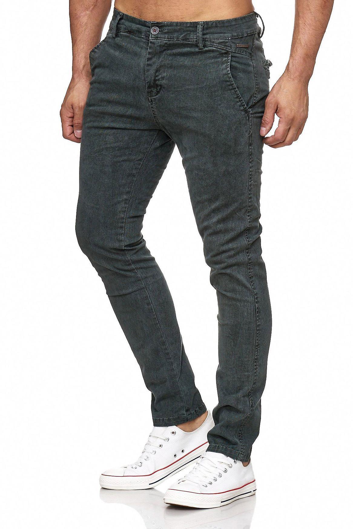 Mäns Chino Jeans Denim byxor mönstrade Jeans avsmalnande ben  b8fb9f1299390