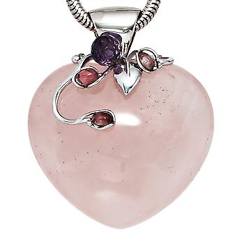 Pendant heart Rose Quartz combined with 925 Silver 1 Crystal 3 tourmalines