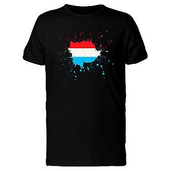 Paint Splash Luxembourg Flag Tee Men's -Image by Shutterstock
