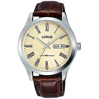 Lorus rostfritt stål fall läder armband romerska siffror grädde RXN53DX9 klocka