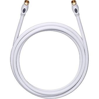 Oehlbach Antennas, SAT Cable [1x F plug - 1x F plug] 0.75 m 120 dB gold plated connectors White