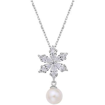 Fei Liu Snowflake Freshwater Pearl Floral Star Necklace - Silver