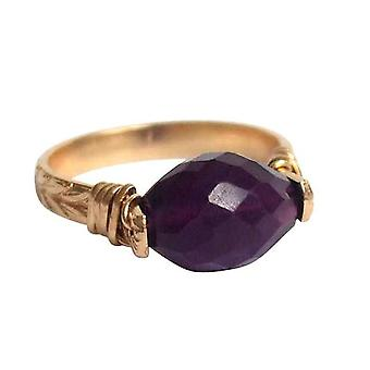 Gemshine - women's - ring - pull-ring - gold plated - Amethyst - violet