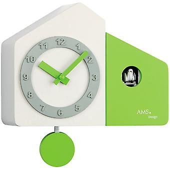 top modern wall clock Quartz White cuckoo clock pendulum wooden cabinet and painted green
