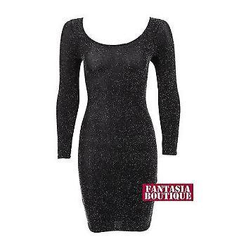 Ladies Long Sleeve Shiny Silver Black Lurex Short Womens Dress