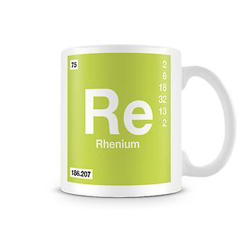 Wetenschappelijke bedrukte mok Featuring Element symbool 075 Re - renium