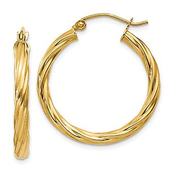 14k Yellow Gold Hollow Hinged post Polished 3.25mm Twisted Hoop Earrings - Measures 25x25mm