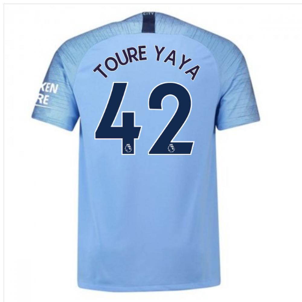 2018-2019 Man City Nike Vapor Home Match Shirt (Toure Yaya 42)