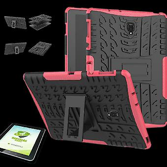 For Samsung Galaxy tab A 10.5 T590 / T595 2018 hybrid outdoor cover pink bag + 0.4 H9 hard glass