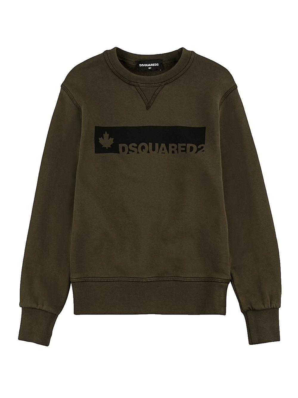 Dsquarouge2 Enfant DSQUArouge2 Enfants kaki & noir Logo Sweatshirt