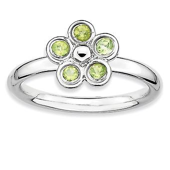 925 Sterling Silver Bezel Polished Rhodium-plated Stackable Expressions Peridot Flower Ring - Ring Size: 6 to 8