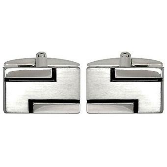 David Van Hagen Lined Cufflinks - Silver