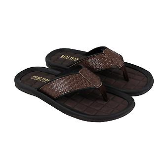 Kenneth Cole Reaction Go Four Th Mens Brown Thong Flip-Flops Sandales Chaussures