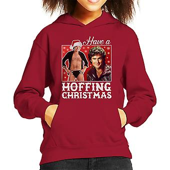 David Hasselhoff Have A Hoffing Christmas Kid's Hooded Sweatshirt