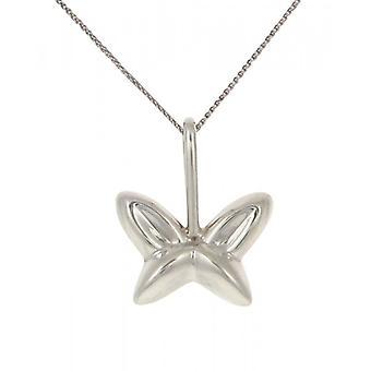 Cavendish francés plata en forma de colgante de mariposa con cadena de plata de 16-18