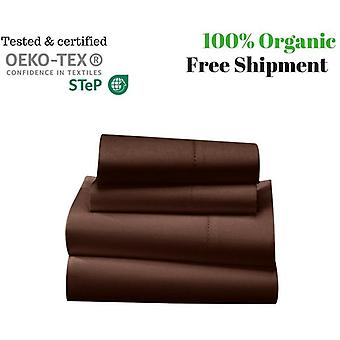 1000 Tc-100% Egyptian Cotton Bed Sheet Set-chocolate