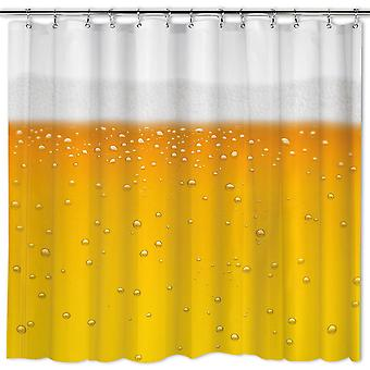 Shower curtain beer - beer o'clock-beer shower yellow, white, PVC, incl. hook.