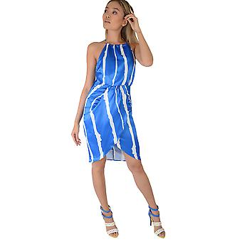 LMS Blue Wrap Dress With Thick White Stripes