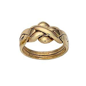 9ct Gold 4 piece Puzzle Ring Size Q