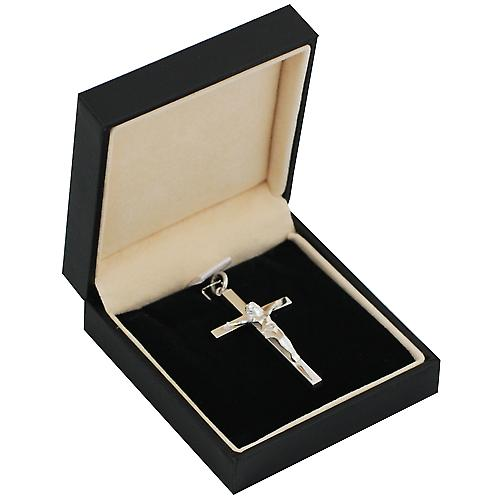 Silver 40x24mm solid block Crucifix Cross