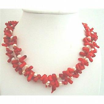 Genuine Coral Tube w/ Freshwater Pearl Double Stranded Necklace Sterling Silver Clasp