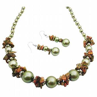 Magnificent Necklace Olive Pearls Olive Nugget Necklce Set