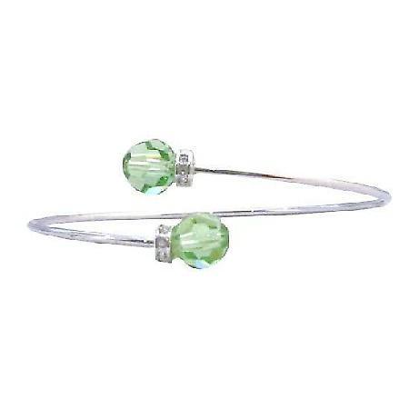 Wire Bracelet Peridot Swarovski Crystals 8mm Silver Rondells