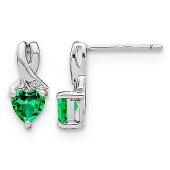 4/5 Carat (ctw) Lab Created Emerald Heart Stud Earrings in Sterling Silver