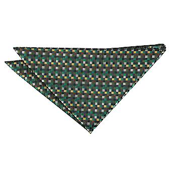 Green with Gold, Silver and Bronze Chequered Geometric Pocket Square
