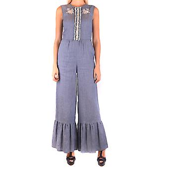 Twin-set Blue Linen Jumpsuit