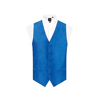 Dobell Mens Royal blauw gilet Fit Regular Dupion 5 knop