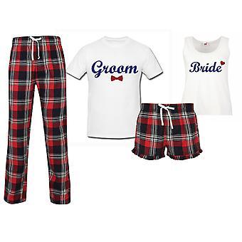 Bride Groom Honeymoon Wedding Couples Matching Pyjama Tartan Set