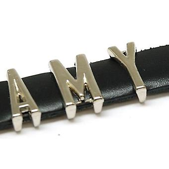 Das Olivia Collection 'Amy' Schwarzes Leder personalisierte Namen Armband