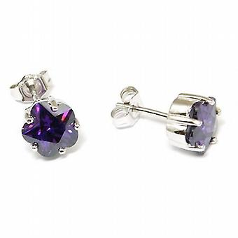Jsuk Sterling Silver Amethyst Cz 5 Claw Flower Stud Earrings