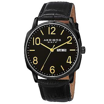 Akribos XXIV AK801BK Day Date Goldtone Accent Black Leather Strap