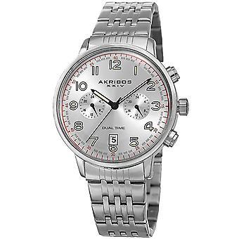 Akribos XXIV Men's Multifunction Dual Time Bracelet Watch AK942SS