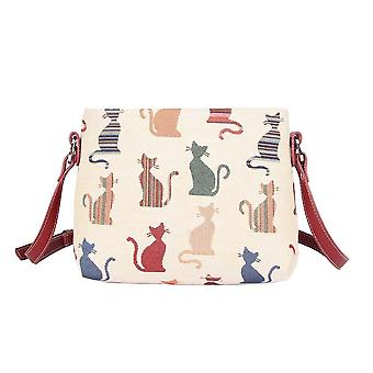 Cheeky cat shoulder crossbody bag by signare tapestry / xb02-cheky