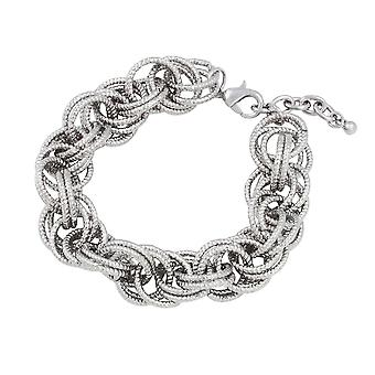 Eternal Collection Connections Silver Tone Circular Links Fashion Bracelet