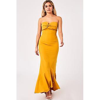 Little Mistress Nikki Spice Gold Bow Bandeau Maxi Dress