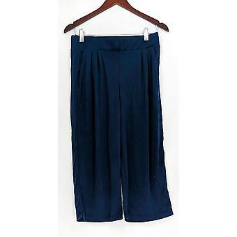 H di Halston Women's Petite Pants XSP Knit Cropped Wide Leg Navy Blue A303208