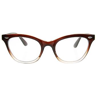 Translucent Fade Cat Eye Shaped Clear Lens Glasses with Rivets