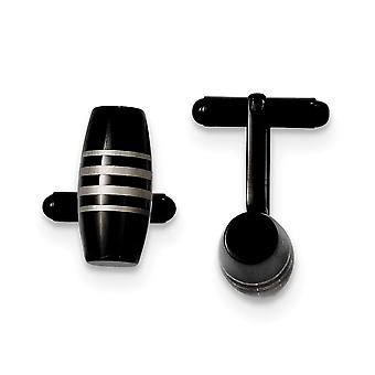 Stainless Steel Polished IP black-plated Black Ip-plated Cuff Links