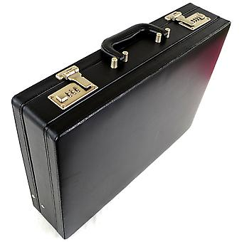 Mens Professional Leather Look Executive Black Briefcase with Combination Locks