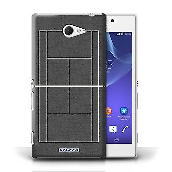 STUFF4 Case/Cover for Sony Xperia M2/Grey Hard Court/Tennis Courts