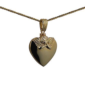 9ct Gold 25x22mm handmade Embossed Angel Heart shaped Memorial Locket with a spiga Chain 24 inches