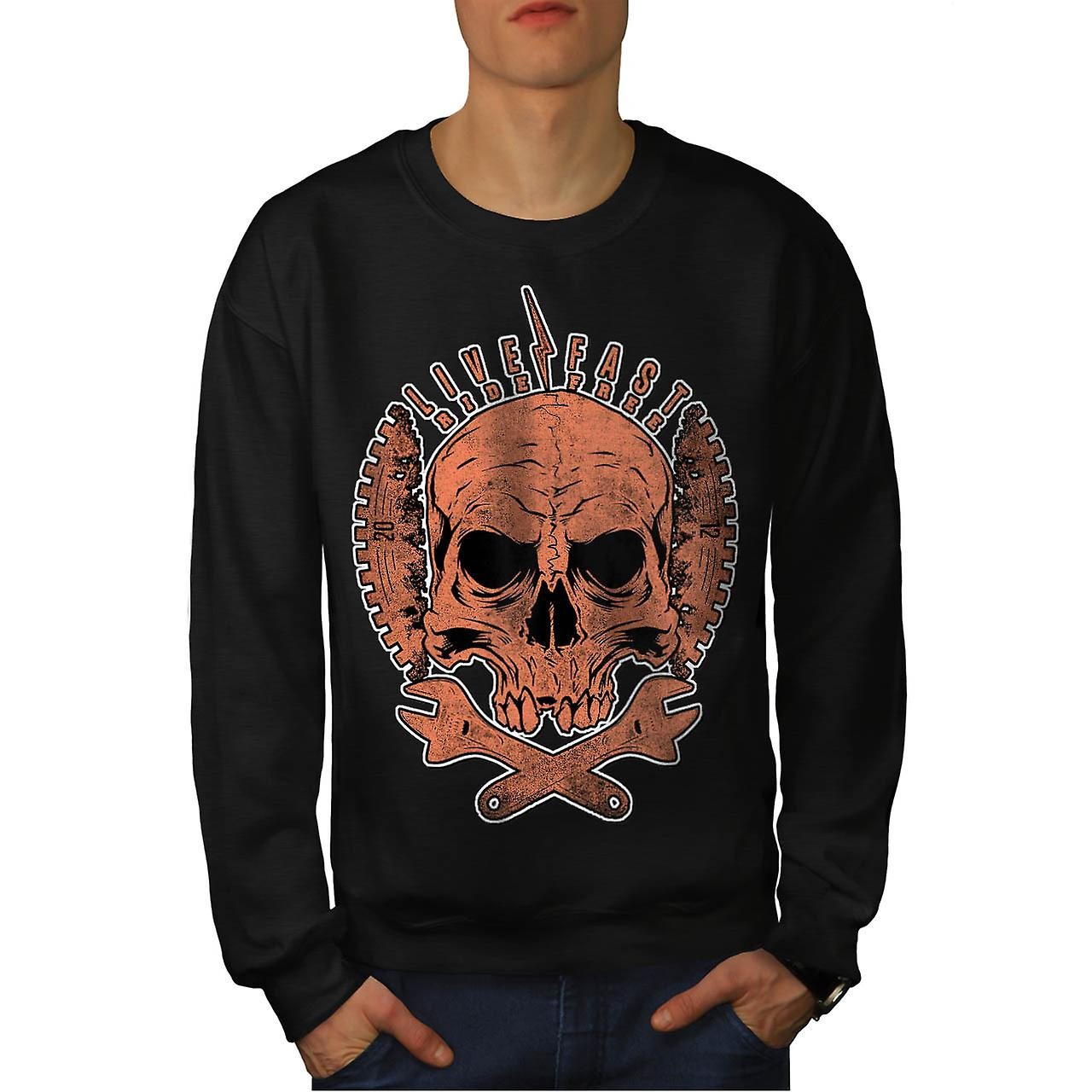 Live Fast Ride Free Biker Skull Men Black Sweatshirt | Wellcoda