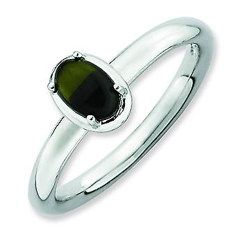 2.25mm Sterling Silver Stackable Expressions Onyx Polished Ring - Ring Size: 5 to 10